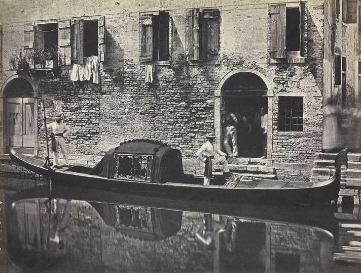 Venice without Tourists: Domenico Bresolin (1813-1900), Gondola in front of a house, c. 1851/55, Albumen paper