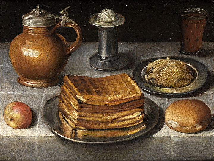 Georg Flegel: Still Life Painter: Still life with waffles and stone krug, Oil on Wood,  Öl auf Holz. 38 x 51 cm.
