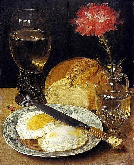Georg Flegel: Still Life Painter: Snack with poached eggs. 1600s.