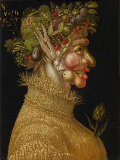 Summer by Arcimboldo: Allegory of Summer, painted in 1563. Collection: Kunsthistorisches Museum, Vienna.
