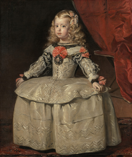 Diego Velázquez: This picture of the five-year-old princess was also sent to her grandfather Emperor Ferdinand III in Vienna. She is wearing the white court robe in which Velázquez depicted her in his celebrated painting »Las Meninas«, which is now in the Prado in Madrid. Diego Velázquez, Infanta Margarita (1651–1673) in a White Dress, c. 1656, Oil on canvas, 105 cm x 88 cm © Vienna, Kunsthistorisches Museum