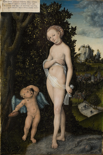 Venus with Cupid Stealing Honey: Lucas Cranach the Elder (c. 1472-1553), Venus with Cupid Stealing Honey, 1530. 58x38 cm.  Collection of the National Gallery of Art, Denmark.