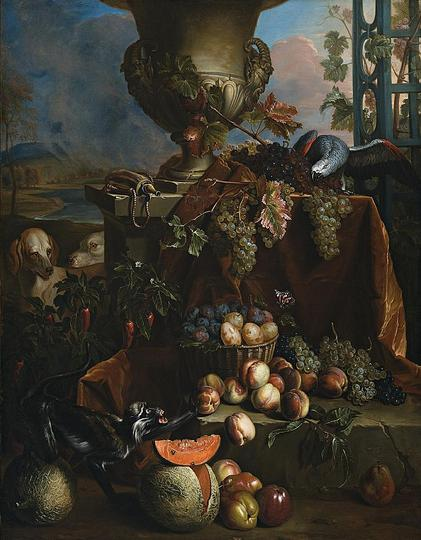 Still Life Monkeys: Alexandre-Francois Desportes, Still Life of Fruits in a Landscape with Dogs, Monkey, and Parrot, c. 1710.