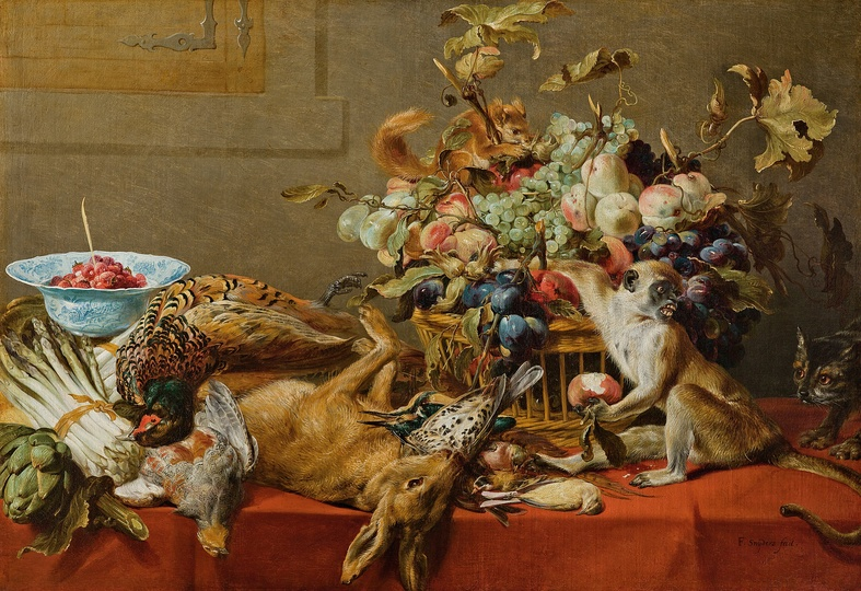 Still Life Monkeys: Frans Snyders, Still Life with Fruit, Dead Game, Vegetables, and a Live Monkey, Squirrel and Cat, circa 1593 and circa 1657.