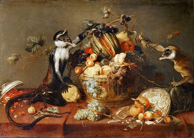 Still Life Monkeys: Frans Snyders (Antwerp, 1579 - Antwerp, 1657), Two Monkeys Stealing Fruit from a Basket, 0.84 x. 1.19 m. Bequest of baron Chevreau de Christiani, 1929. Louvre.