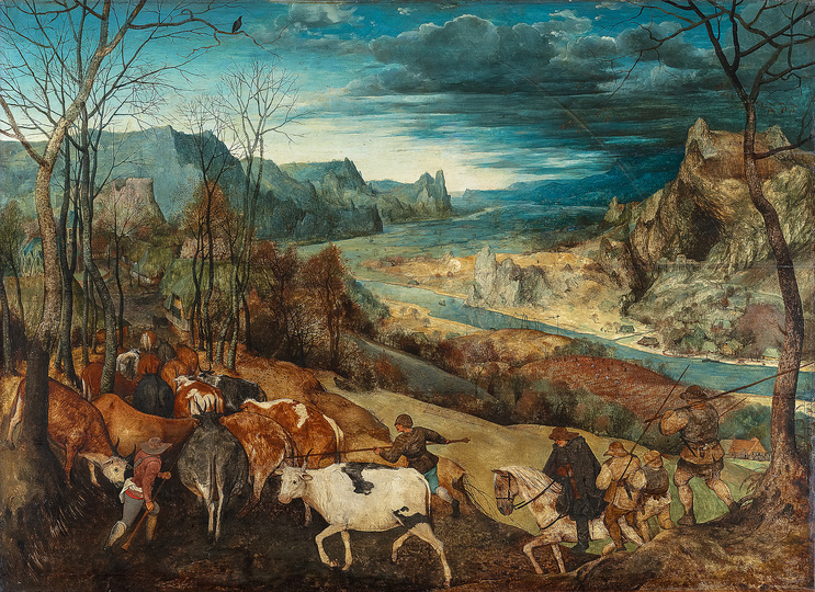Pieter Bruegel: Pieter Bruegel the Elder (c. 1525/30 Breugel or Antwerp? – 1569 Brussels) The Return of the Herd 1565, oak, 117 × 159 cm Kunsthistorisches Museum Vienna, Picture Gallery © KHM-Museumsverband