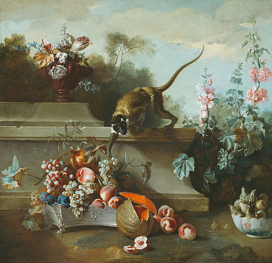 Still Life Monkeys: Jean-Baptiste Oudry, Still Life with Monkey, Fruits, and Flowers, 1724.