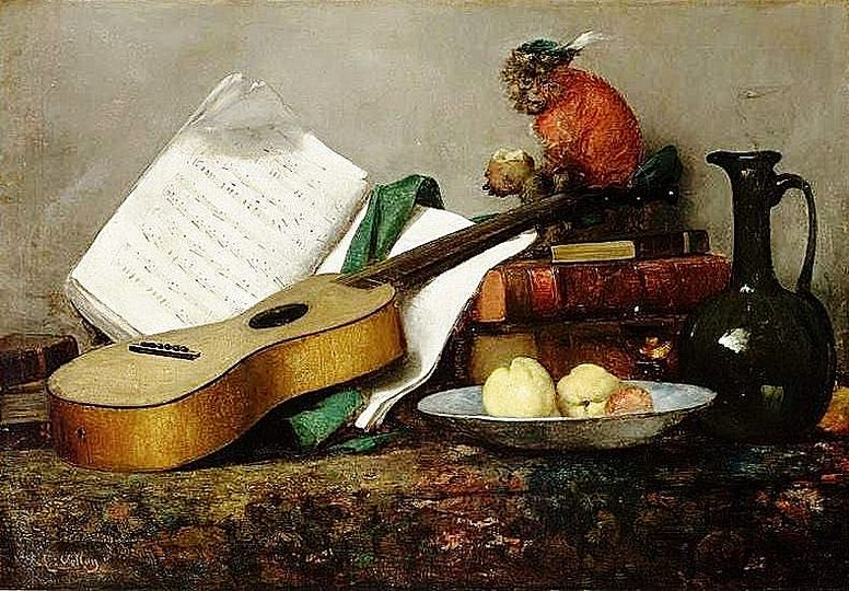 Still Life Monkeys: Antoine Vollon (1853-1900), Still Life with Monkey and a Guitar.