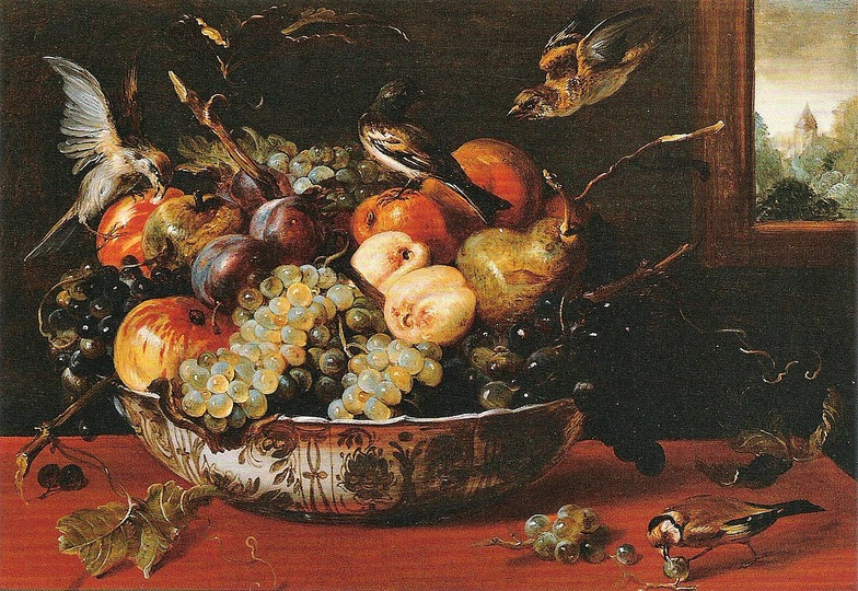 Still Life Monkeys: Frans Snyders, Still Life with Fruit Bowl, Birds, and Window, 46 x 64 cm, Öl auf Holz, 1610s. Source: William B. Jordan, Juan van der Hamen y León & The Court of Madrid, New Haven, Connecticut 2005.