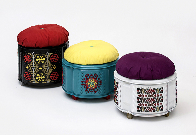 Upcycled: Junk Munkez, Knit-Knacks, Washing machine drum stools, 2012, © Institut für Auslandsbeziehungen e. V. (ifa), photo: Frank Kleinbach