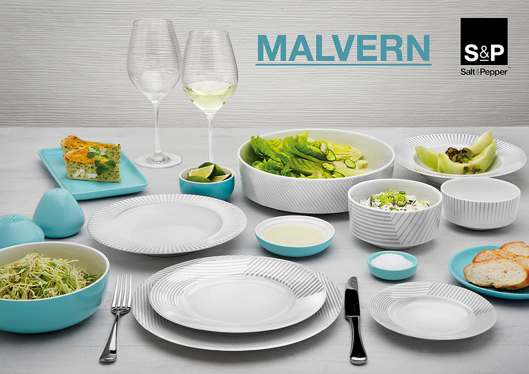 Serve Up!: MALVERN Salt & Pepper. Salt&Pepper's MALVERN dinnerware and accessories combine strong white porcelain with detailed graphic lines, adding fine dining quality to every day meals. Designer : Salt & Pepper. Stand name : SALT & PEPPER. Show : MAISON&OBJET. Copyright : Aerts NV