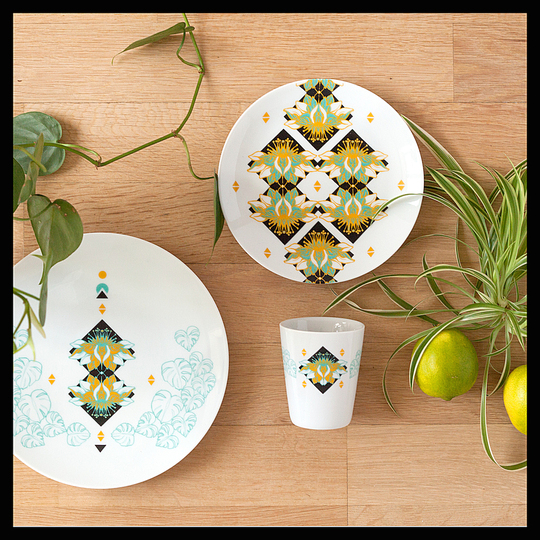 Serve Up!: West Indies collection - Grenada pattern. French white genuine porcelain. Dessert plate Ø21cm. Small plate Ø17cm. Cup 20cl. Designer: EmilieBok'. Stand name : EMILIEBOK'. Show : MAISON&OBJET  Copyright : © EmilieBok' / Lucas Matichard.