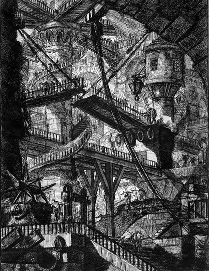 Terror Architecture -18th Century Prisons: Piranesi etchings of the Carceri, which explored the authority and justice system of the Romans, and the cruelty of the emperors.