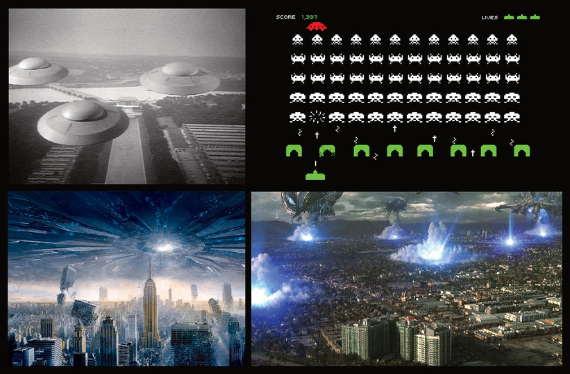 Semantic Space Invaders: From left to right: Earth vs. the flying Saucers, 1956. Space Invaders, 1978. Independence Day, 1996. Skyline, 2010.