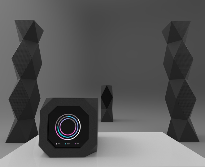 HYFY: HYFY: Totem is a set-up with large speakers in angular, geometric enclosures to accent the interior of spacious homes. The central DSP equalizer and amplifier processes sound sources from the cloud.