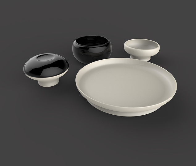 Multifunctional tableware: The series consists of just 5 elements: 4 container forms and one plate