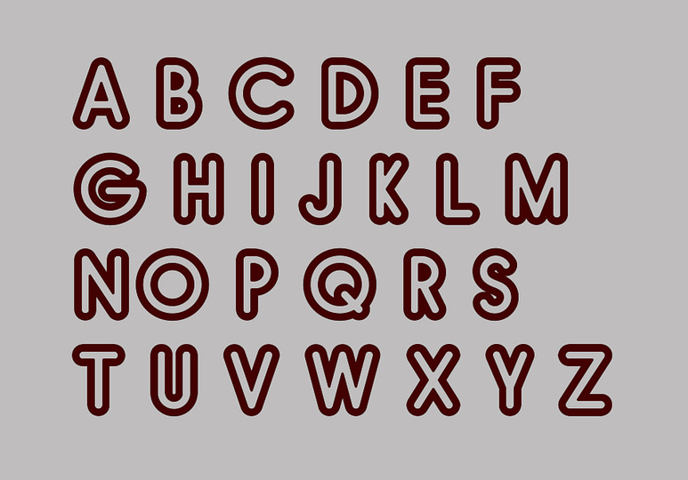 Cellular Letters: outline bold thick