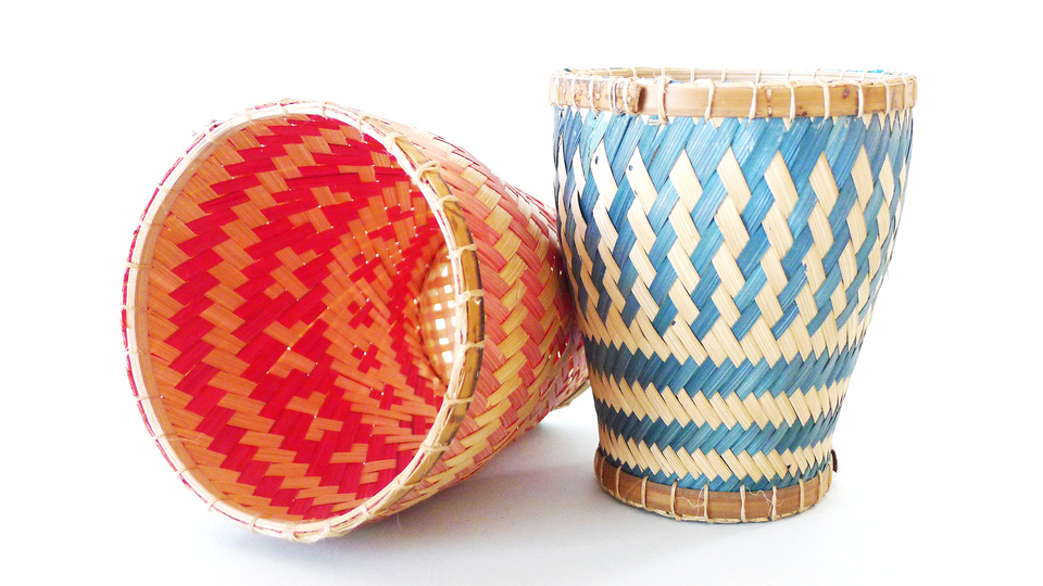 Low Tech can be smart and fun: Southeast Asian dishes often come with a side of freshly washed herbs (cilantro, mint). These traditional woven cups allow the herbs to dry and dissipate water to the bottom.