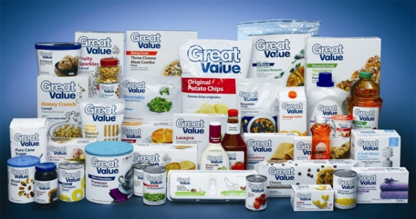 Private Labels are soaring: A low-end product doesn't have to be cheap and look cheap. Wal-Mart's Great Value low-cost branded food and household products were launched in 1993. In 2009, the design was renewed with white background and blue lettering. Courtesy: Walmart, 2009.