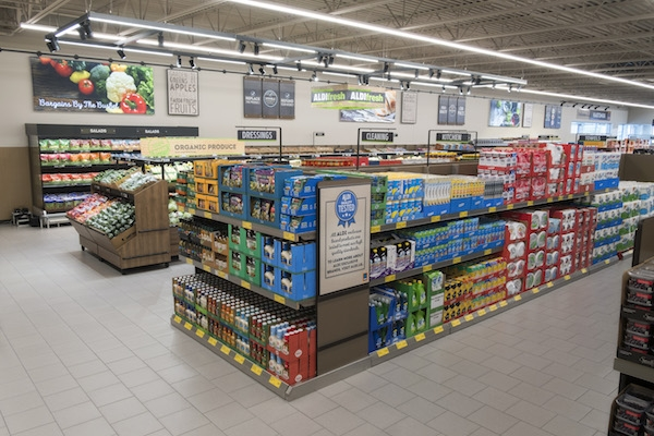 Private Labels are soaring: Warehouse-style displays twith self-branded items. Courtesy: Aldi
